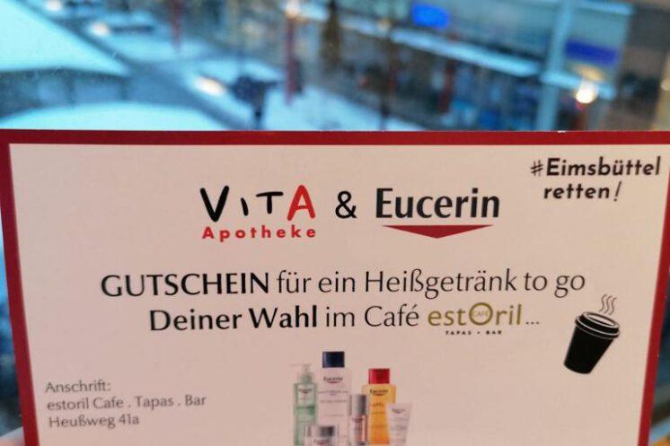 Eimsbüttel Retten: Die Vita Apotheke und das Café Estoril stehen zusammen.